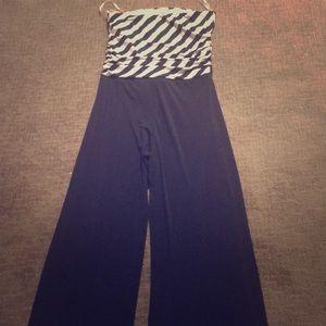 Tube navy/white spandex jumpsuit L